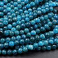 "AA Natural Teal Blue Apatite 6mm  8mm Round Beads Polished Teal Gemstone Beads 16"" Strand"