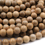 "Light Brown Real Natural Sandalwood Beads 4mm 6mm 8mm 10mm 12mm Aromatic Pure Wood Great For Mala Prayer Meditation Therapy 16"" Strand"