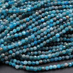 "Micro Faceted Tiny Small Natural Blue Apatite 3mm Faceted Round Beads Laser Diamond Cut Gemstone 16"" Strand"