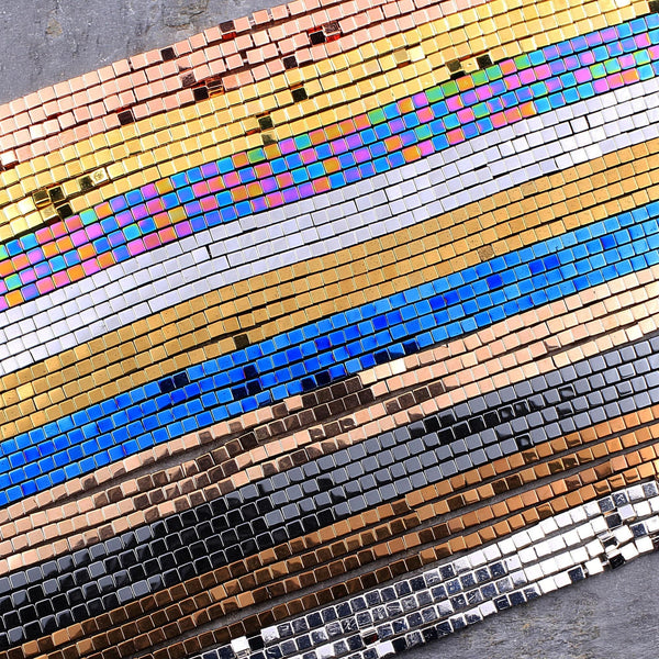 "Titanium Hematite 2mm Square Cube Dice Beads Bright Silver Gold Blue Bronze Rainbow Rose Gold Beads 16"" Strand"