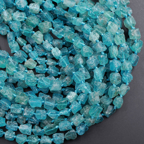 "Raw Rough Apatite Freeform Beads Nuggets 10mm Extra Gemmy Translucent Teal Green Blue Gemstone Hand Hammered Beads  16"" Strand"