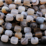 "Matte Finish Natural Montana Agate Rounded Cylinder Barrel Drum Beads Amazing Scenic Pattern High Quality Black White Beads 16"" Strand"