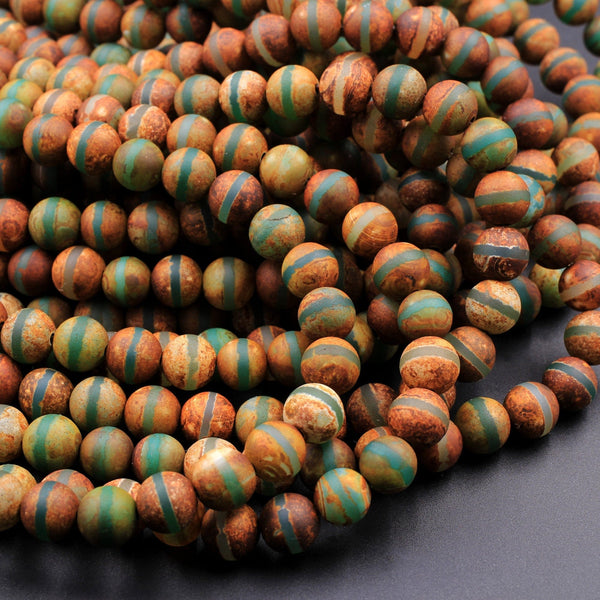 "Tibetan Agate 6mm 8mm 10mm Round Beads Dzi Agate Green Brown Etched Line Ring Matte Mala Antique Boho Beads 16"" Strand"