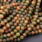 "Tibetan Agate 6mm 8mm 10mm Round Beads Dzi Agate Green Brown Black Eye Matte Mala Antique Boho Beads 16"" Strand"