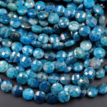 "AA Natural Blue Apatite Faceted Coin 6mm 8mm 10mm Beads Flashy Blue Green Micro Faceted Laser Diamond Cut Gemstone 16"" Strand"