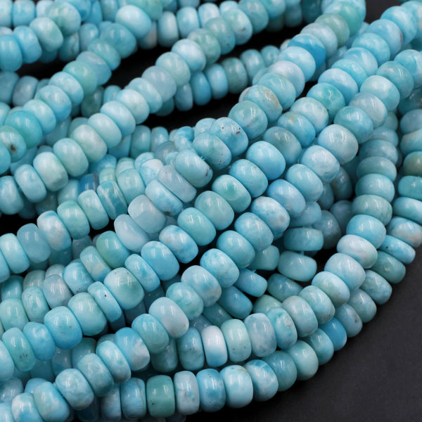 "AA Natural Blue Larimar 6mm 7mm 8mm Smooth Rondelle Beads Real Genuine Larimar Gemstone 16"" Strand"