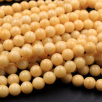 "From Burma Stunning Natural Burmese Yellow Jade Round Beads 8mm 10mm 16"" Strand"