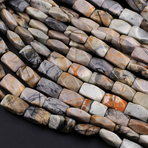 "From Utah Natural Picasso Jasper 14x8mm Faceted Rectangle Beads American Jasper Beads 16"" Strand"