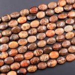 "A Grade Natural Indonesian Fossil Coral Oval Beads 14x10mm Red Brown Tan Gray Beads 16"" Strand"