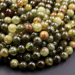 "AA Natural Green Garnet 6mm 8mm Round Beads Smooth Highly Polished Stunning Green Garnet Gemstone 16"" Strand"