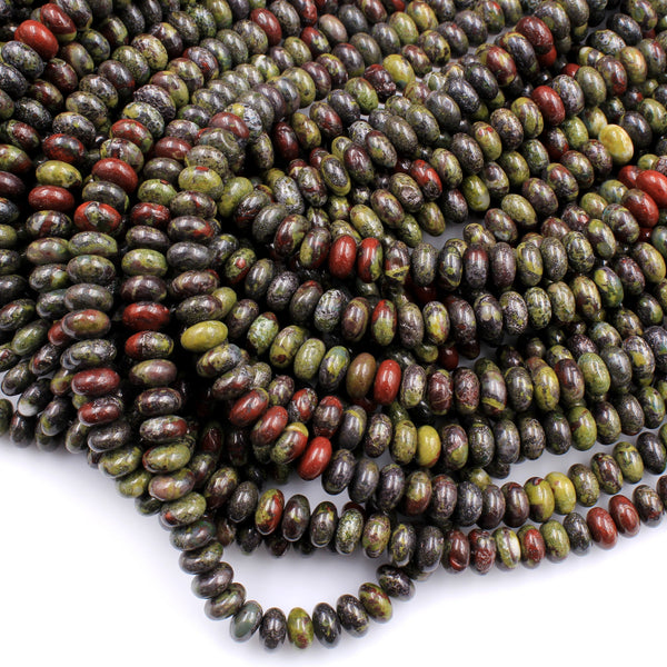 "Natural Dragon Blood Jasper Rondelle 8mm Beads Polished Earthy Red Green Stone 16"" Strand"
