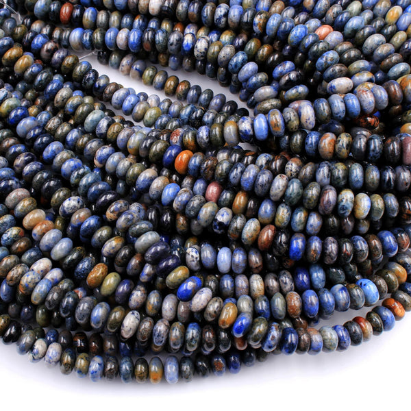 "Natural Sunset Dumortierite Rondelle Beads 8mm Earthy Blue Rusty Orange Natural Stone 16"" Strand"