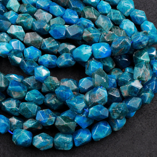 "Large Natural Apatite Beads Chunky Faceted Rectangle Nugget 14mm Teal Blue Gemstone Designer Beads Unique Gem Cut 16"" Strand"