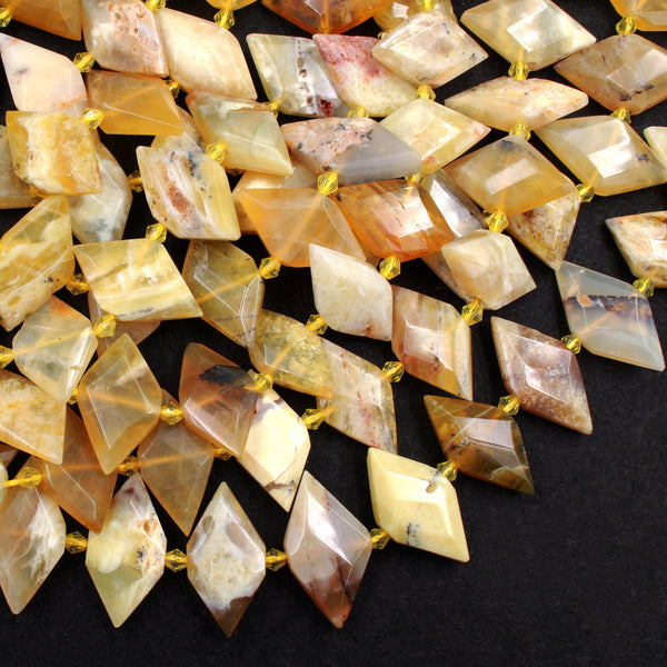 "Natural African Yellow Opal Beads Faceted Kite Marquise Horse Eye Diamond Shape Center Drilled Flat Gemstone 16"" Strand"