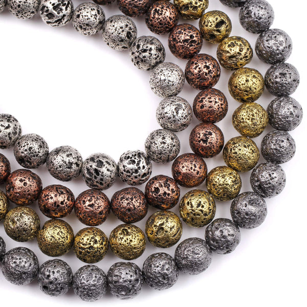 "Natural Volcanic Lava Round Bead 6mm 8mm 10mm Titanium Plated Coated Antique Silver Copper Bronze Gold Black Gunmetal 16"" Strand"