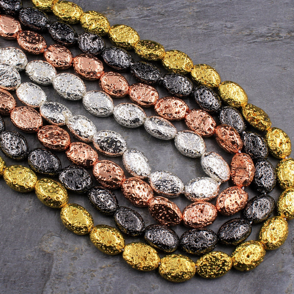 "Titanium Lava Oval Bead 14x10mm Natural Volcanic Rock Stone Metallic Gold Silver Black Gunmetal Rose Gold Plated 16"" Strand"