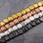 "Titanium Lava Square Beads 12mm Cushion Natural Volcanic Rock Stone Metallic Gold Silver Gunmetal Rose Gold Plated 16"" Strand"