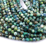 "Rare Natural Chrysocolla Azurite 6mm 8mm 10mm Round Beads Blue Azurite Green Chrysocolla Gemstone 16"" Strand"