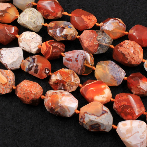 "Rare Natural Mexican Fire Opal Beads Faceted Freeform Nuggets Fiery Red Orange Opal Beads 16"" Strand"