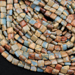 "Genuine Natural Snake Skin Jasper Square Cushion Beads Earthy Blue Rusty Red Brown Tan Stone Aka African Blue Opal 16"" Strand"