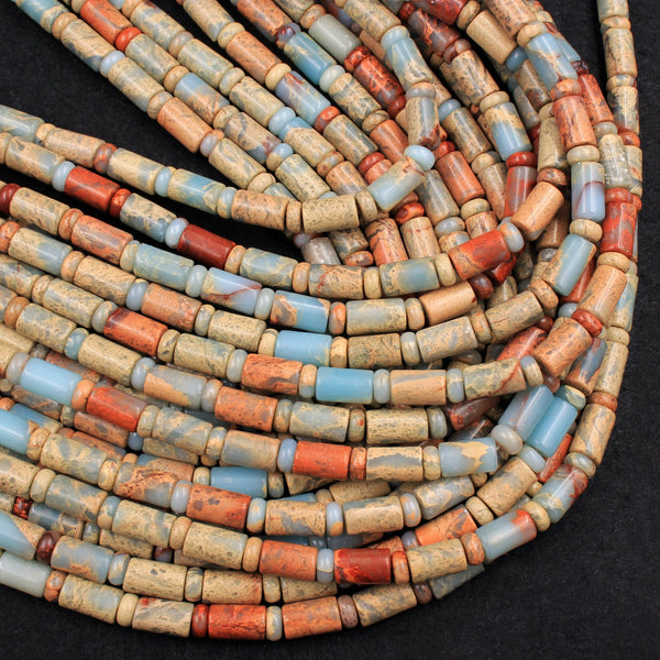 "Genuine Natural Snake Skin Jasper Tube Cylinder Rondelle Beads Earthy Blue Rusty Red Brown Tan Stone Aka African Opal 16"" Strand"