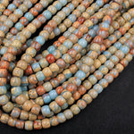"Genuine Natural Snake Skin Jasper Rondelle Drum Beads Earthy Blue Rusty Red Brown Tan Stone Aka African Opal 16"" Strand"