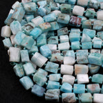 "Natural Larimar Tube Beads Rectangle Blue Larimar Nuggets High Quality Real Genuine Larimar 16"" Strand"