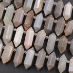 "Natural Grey Peach Moonstone Faceted Double Terminated Point Bullet Bicone Top Drilled Focal Pendant Beads 16"" Strand"