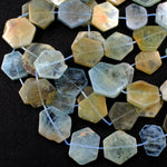 "Graduated Natural Raw Aquamarine Hexagon Slice Beads Nuggets Fancy Star Cut Nuggets Organic Beads 16"" Strand"