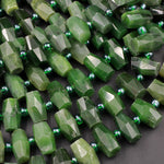 "Natural Canadian Green Jade Faceted Barrel Tube Drum Beads Laser Diamond Cut Real Genuine Green Jade Sharp Facets Gemstone 16"" Strand"