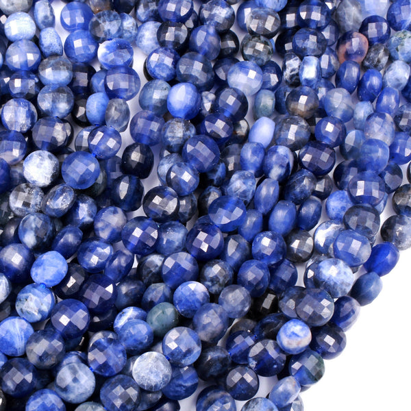 "Micro Faceted Natural Blue Sodalite 6mm Coin Beads Flat Disc Gemstone 16"" Strand"