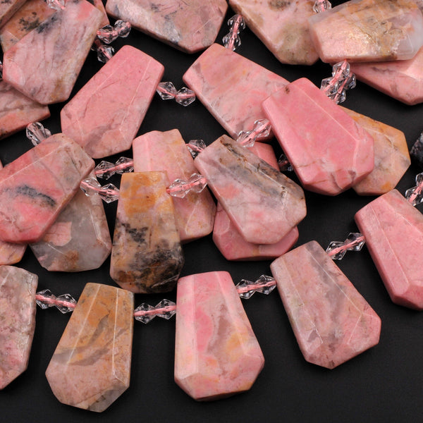 "Natural Pink Rhodonite Trapezoid Tapered Teardrop Fan Shape Focal Pendant Beads Earthy Pink Interesting Black Matrix 16"" Strand"