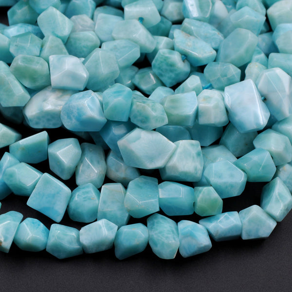 "AAA Faceted Natural Blue Larimar Nuggets Chunky Center Dilled Freeform Beads Real Larimar Stone 16"" Strand"