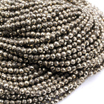 "Micro Faceted Natural Iron Pyrite 2mm 3mm 4mm Round Beads Diamond Cut Gemstone 16"" Strand"