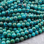 "SHATTUCKITE BEADS Round 6mm AAA Grade Rare Natural Blue Azurite Malachite Chrysocolla Gemstone From Congo 16"" Strand"
