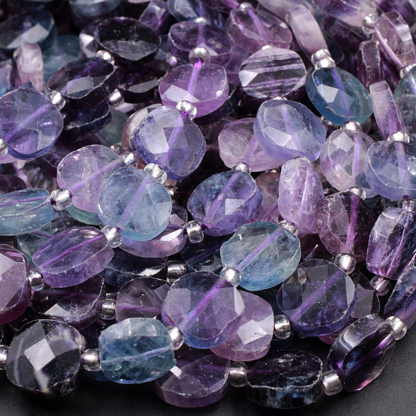 "AAA Super Clear Natural Fluorite Faceted Square 10mm Cushion Sharp Facets Laser Diamond Cut Purple Green Blue Gemstone Beads 16"" Strand"