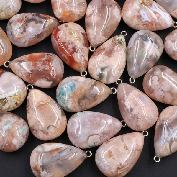 AAA Natural Cherry Blossom Agate Teardrop Pendant Small Puffy Gemmy Natural Pink Peach Stone Pendant