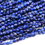 "Natural Blue Lapis Faceted 6mm Coin Beads Flat Disc Gemstone Diamond Cut 16"" Strand"