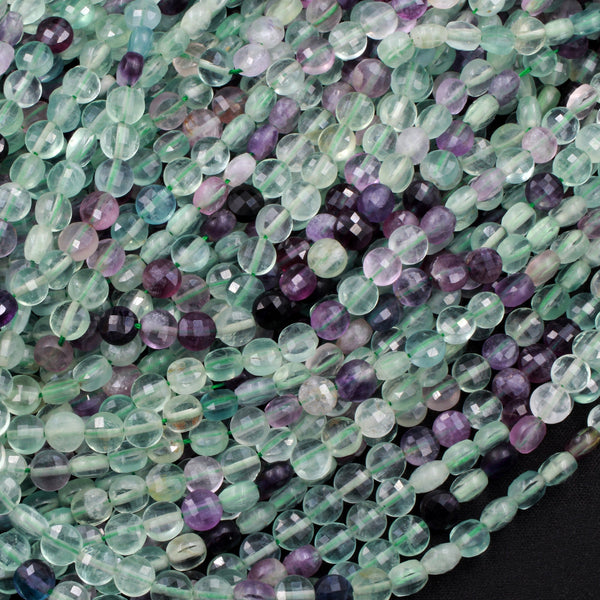 "Micro Faceted Natural Fluorite 6mm Coin Beads Flat Disc Purple Green Gemstone 16"" Strand"