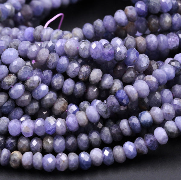 "Genuine Real Natural Tanzanite Faceted 6mm 8mm 9mm Rondelle Beads Purple Blue Gemstone 16"" Strand"