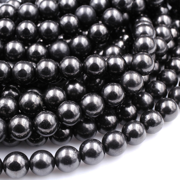 "Genuine Natural Shungite 6mm 8mm 10mm Round Beads High Quality Black Lustrous Gemstone from Russia 16"" Strand"