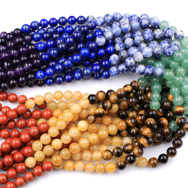 "Natural Chakra Gemstone 4mm 6mm 8mm Round Beads Amethyst Lapis Sodalite Aventurine Tigers Eye Yellow Jade Red Jasper 16"" Strand"