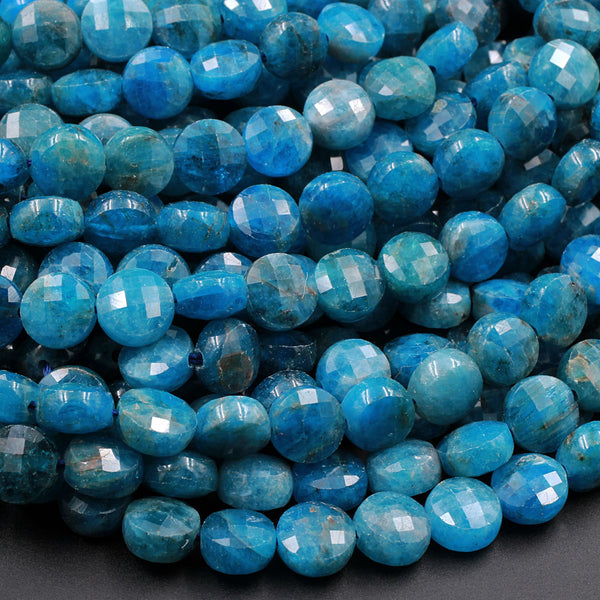 "AA Natural Blue Apatite Faceted Coin 8mm Beads Flashy Blue Green Micro Faceted Laser Diamond Cut Gemstone 16"" Strand"