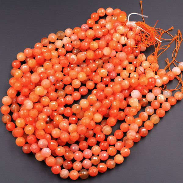 "AAA Faceted Natural Red Orange Botswana Agate 10mm 12mm Round Beads Sparkling Dazzling Vibrant Gemstone 16"" Strand"
