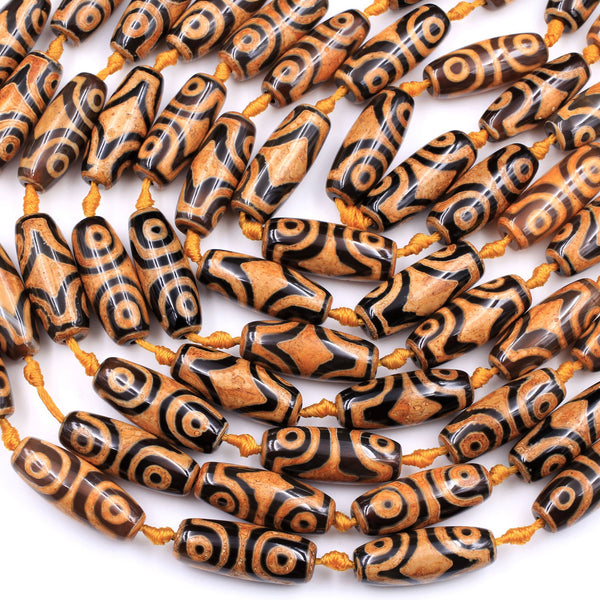 "Large Tibetan Agate Barrel Drum Cylinder Tube 30mm Beads Dzi Agate Bright Yellow Orange Brown Etched Eye Antique Boho Beads 16"" Strand"