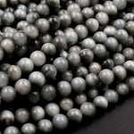 "Natural Eagle Eye Beads 6mm Round Hawk Eye Beads Gray Slate Stones 16"" Strand"