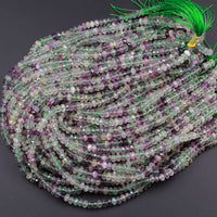 "Natural Rainbow Fluorite Faceted Rondelle 6mm Beads Micro Faceted Sofe Purple Green Gemstone 16"" Strand"