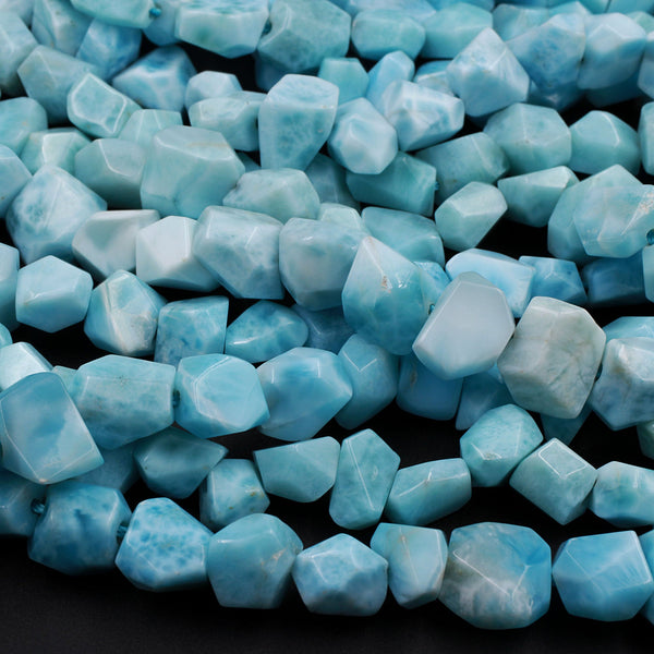 "AAA Natural Blue Larimar 8mm Faceted Nugget Beads Hand Cut Freeform Real Genuine Larimar Gemstone 16"" Strand"