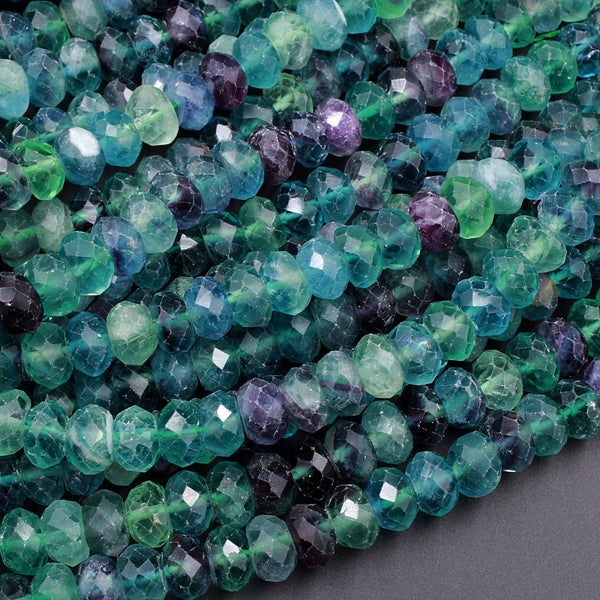 "AA Natural Rainbow Fluorite Faceted Rondelle 6mm 8mm 10mm Beads Stunning Intense Purple Blue Green Gemstone 16"" Strand"