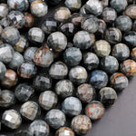 "Faceted Natural Eagle Eye 12mm Round Beads Natural Chatoyant Silvery Grey Slate High Quality Gemstone 16"" Strand"